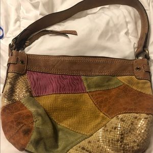 Fossil leather patchwork handbag